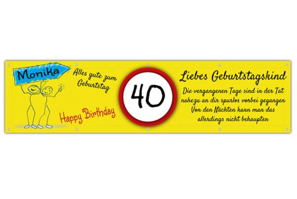 Banner 40. Geburtstag | Geburtstagssprüche | Geburtstagsbanner zum 40. | Banner drucken | Geburtstagsbanner | Banner drucken