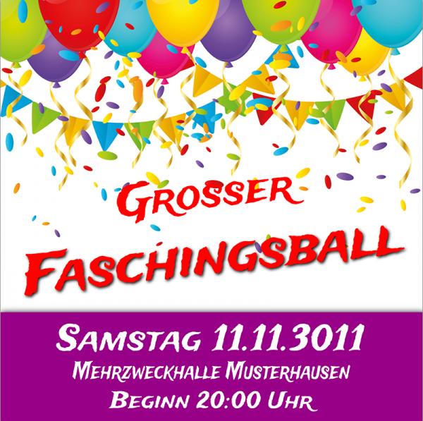 Faschings Banner | Karnevals Banner | Faschingsbanner | Karnevalsbanner | Faschingsplakat | Faschingsposter