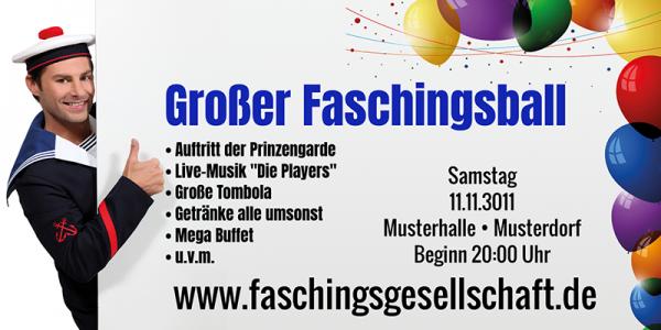 Faschings-Banner XXL | Karnevalsbanner XXL | Faschingsbanner günstig drucken | Faschingsbanner kostenlose Motive | Online gestalten |