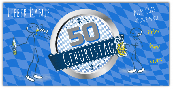 50. Geburtstag | Geburtstagsbanner | Bayerische Fahne | Raute | Banner zum 50 Geburtstag | Geburtstag |