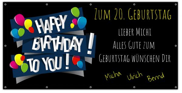 Banner zum Geburtstag | 20. Geburtstagsbanner | Geburtstags-Banner | Banner drucken | Online gestalten |