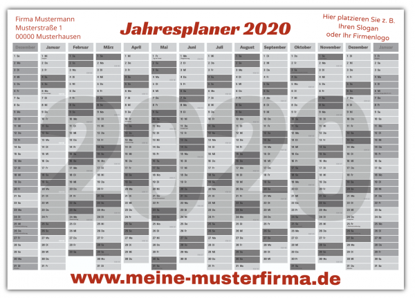 Jahresplaner | Kalender | Jahreskalender DIN A1 | Wandkalender | Kalenderdruck