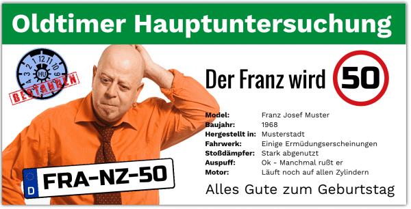 50 Geburtstag | Geburtstagsbanner zum 50 | Tüv Untersuchung 50 Geburtstag | Geburtstagsbanner drucken | Geburtstag 50. |