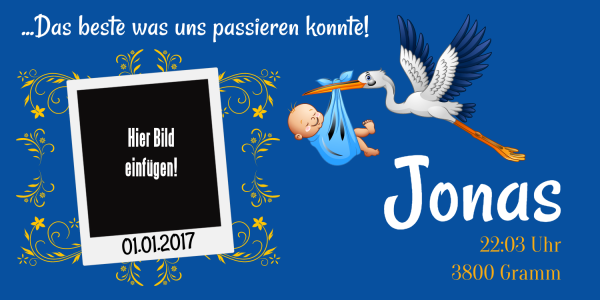 Banner zur Geburt | Plane | XXL-Banner | Riesenplakat | Geburtsbanner | Geburtsbanner Jungen | Geburtstagsbanner