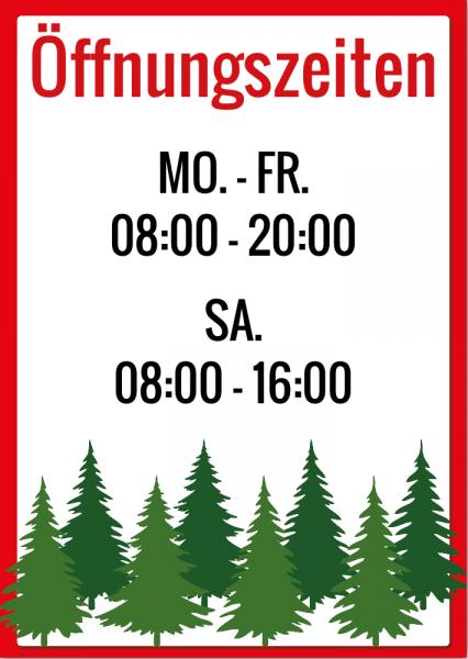 Werbebanner Öffnungszeiten für den Christbaumverkauf | Weihnachtsbaumverkauf |