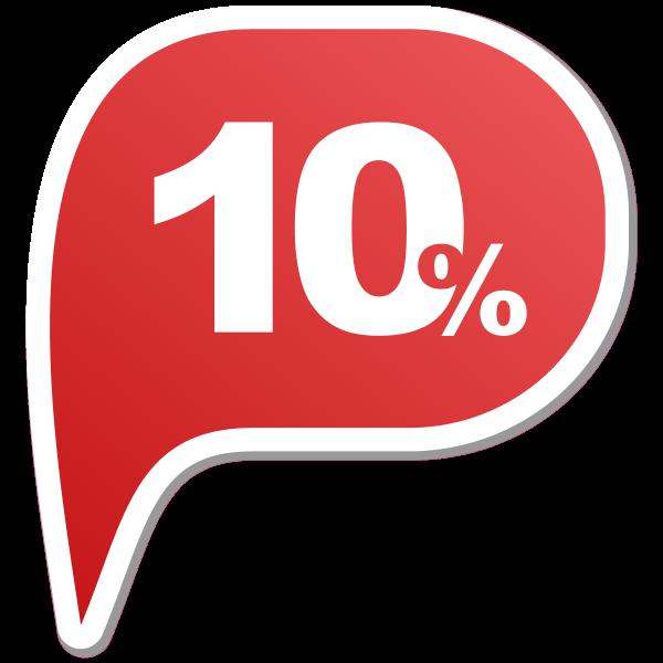 10% | Prozentaufkleber | Rabattaufkleber | Klebefolie Rabatt |
