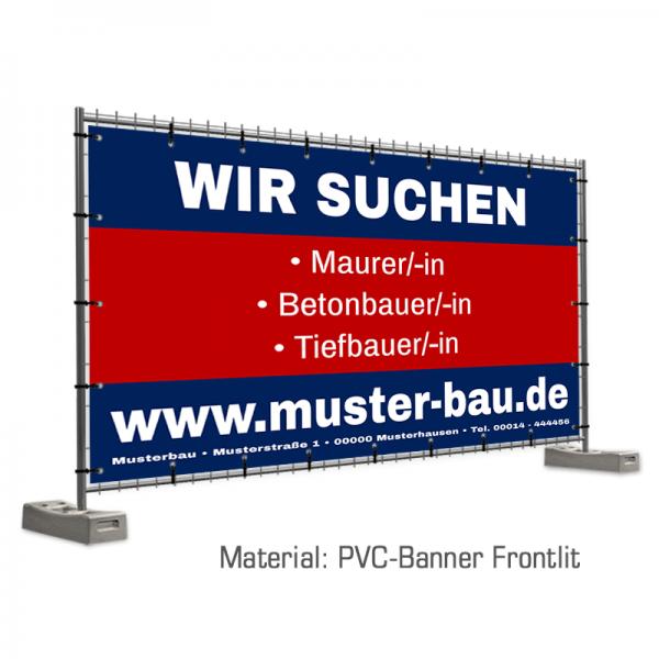 Bauzaunbanner | Bauzaunwerbung | Bauzaunplane | Stellenangebot | Banner Wir stellen ein | Zaunbanner | Bauzaun Banner