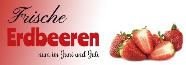 Erdbeerbanner | Frische Erdbeeren | Werbebanner | Online selbst gestalten | Werbebanner | PVC-Banner | Banner drucken | Günstige Banner