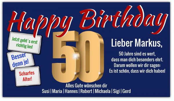 Geburtstag Banner | Geburtstagsbanner | Banner zum 50. Geburtstag | Banner online drucken | Banner günstig bestellen |