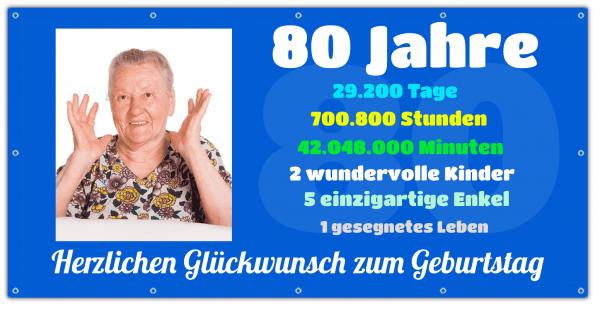 80 Geburtstag Banner | Geburtstagsbanner zum 80 | Zeitrechner | Banner mit Zeitstrahl |